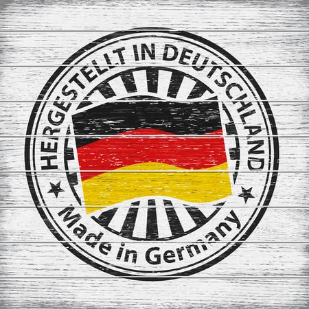 Vector stamp with flag of Germany, circular lettering Hergestellt in Deutschland on wooden background 矢量图像