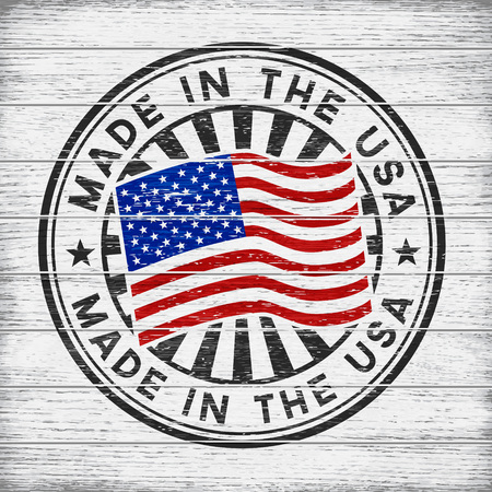 Vector stamp with flag of The USA, circular lettering made in the USA on wooden background