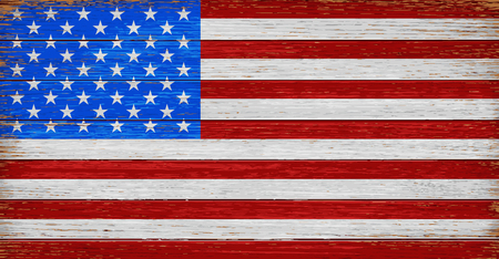 USA, American flag painted on old wood plank background. Realistic vector 矢量图像