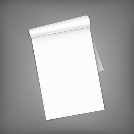 Blank open magazine with rolled page on neutral grey background . Vertical orientation. Template for your design.