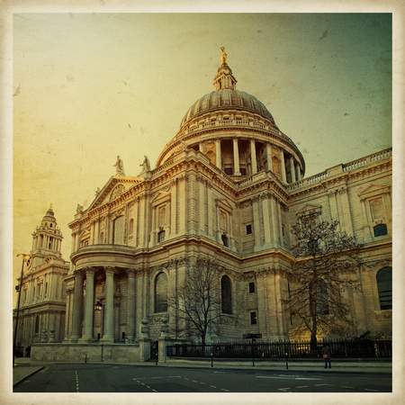 Saint Pauls Cathedral, London, England. Square vintage photo on old paper.