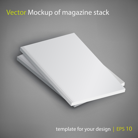 Vector mockup of magazine stack on gray background. Template for your design.