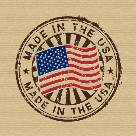 Vector stamp with flag of The USA, circular lettering made in the USA on cardboard background