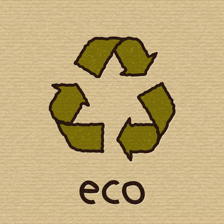 Symbol of recycling on texture of brown packing cardboard. Eco