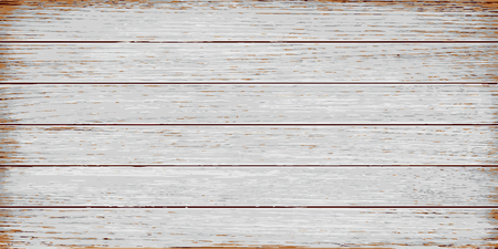 White, grey wooden texture, old painted grunge planks. Vector realistic