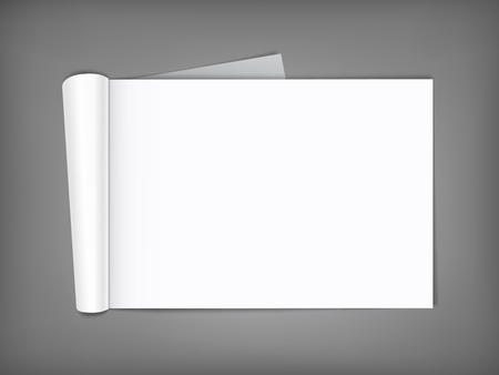 wide open: Blank open magazine with rolled page on neutral grey background . Horizontal orientation. Template for your design.