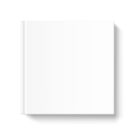 periodical: Mock up square book cover on white background. Vector template for your design.