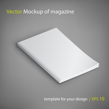 Vector Mockup of magazine on gray background. Template for your design. Illustration