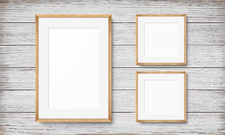 Set of blank frames on wooden vintage wall Illustration