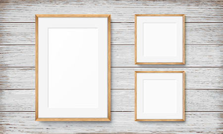 Set Of Blank Frames On Wooden Vintage Wall Royalty Free Cliparts ...
