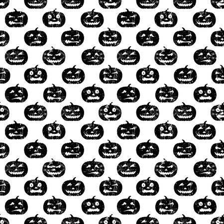 Seamless Halloween pattern with grungy pumpkins. Black on white. Illustration