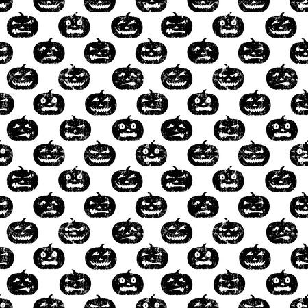 Seamless Halloween pattern with grungy pumpkins. Black on white. 矢量图像