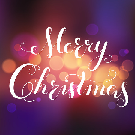 Merry Christmas calligraphy lettering. greeting card with bokeh background, blurred festive lights. Vector.