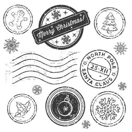 Christmas stamp set isolated on white. Vector illustration