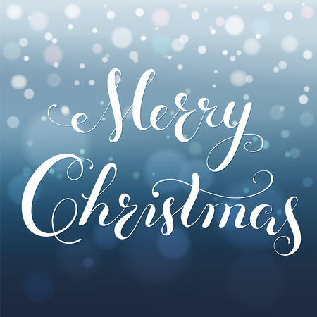 Merry Christmas calligraphy lettering. greeting card with bokeh background, blurred nowflakes and lights. Vector. Illustration