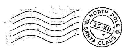 Kerstmis post rubberzegel op wit wordt geïsoleerd dat. Vector
