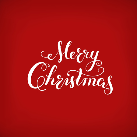 Merry Christmas Calligraphic Lettering card. Creative typography for Holiday Greeting Gift Poster on red Background. Illustration