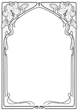 Vintage rectangular decorative frame with art Nouveau floral ornament with lily flowers. Space for text.
