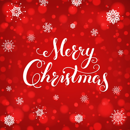Merry Christmas Calligraphic Lettering card. Creative typography for Holiday, Greeting, Gift, Poster on red Background with bokeh and snowflakes.