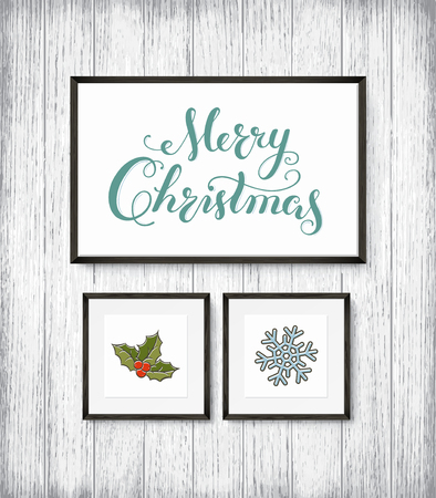 Calligraphy Lettering MERRY CHRISTMAS poster with hand drawn elements in frames on wooden wall. Vector illustration
