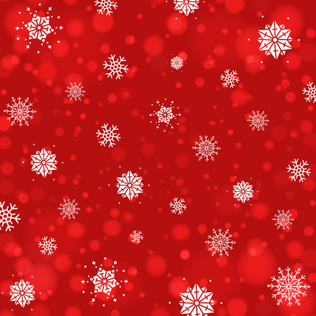 Abstract Christmas background with snowflakes and bokeh background. New year red back.