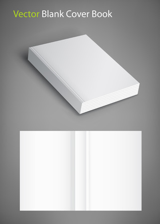 Realistic vector blank of paperback cover book. Template for your design. Grayscale Mockup. Illustration