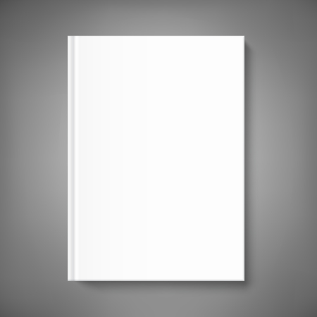 Mock up book cover on neutral grey background. Vector template for your design.