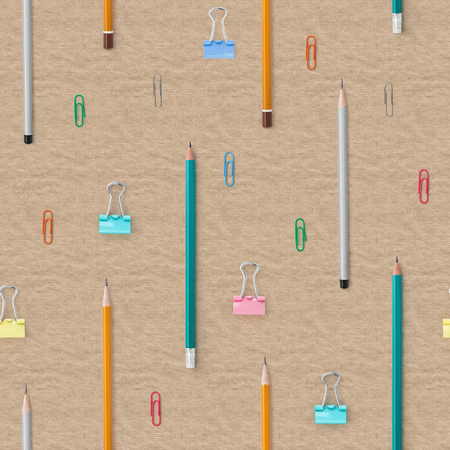 Flat lay with bright stationery supplies on cardboard background. Seamless pattern. Back to school