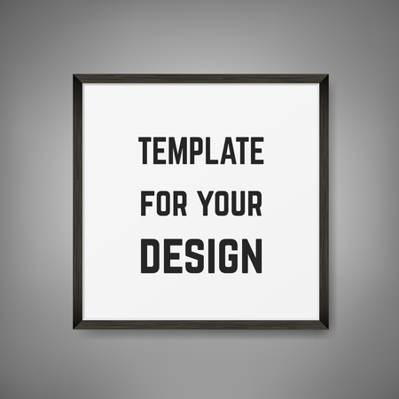 Square Blank picture frame template. Realistic black frame on grey wall for photo or poster.