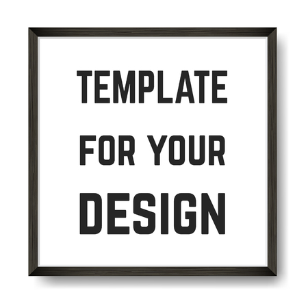 Square Blank picture frame template. Realistic black frame with shadow on white for photo or poster.