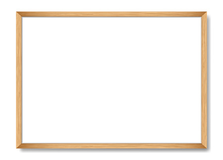 Blank picture frame template. Realistic wooden frame with shadow on white for photo or poster. Horizontal orientation A4