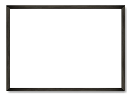 Blank picture frame template. Realistic black frame with shadow on white for photo or poster. Horizontal orientation A4