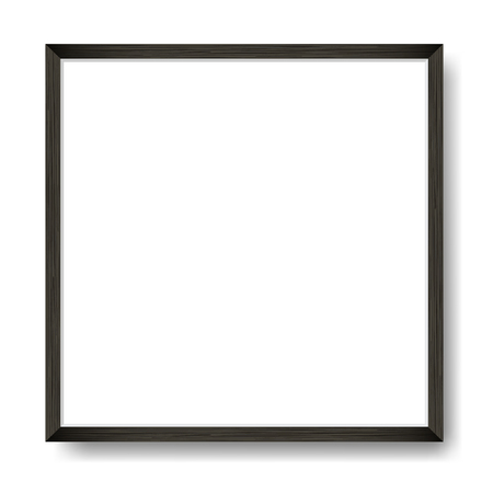 Square Blank picture frame template. Realistic black wooden frame with shadow on white wall for photo or poster. Illustration