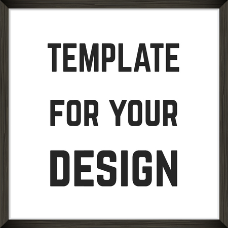 Square Blank picture frame template. Realistic black frame for photo or poster.