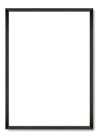 Blank picture frame template. Realistic black frame with shadow on white for photo or poster. Vertical orientation A4
