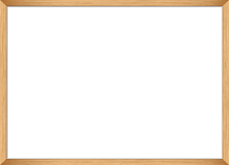 Blank picture frame template. Realistic wooden frame for photo or poster. Horizontal orientation A4