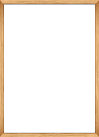 Blank picture frame template. Realistic wooden frame for photo or poster. Vertical orientation A4