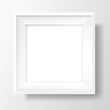 Square Blank picture frame template. Realistic white frame with shadows on white wall for photo or poster. Vector