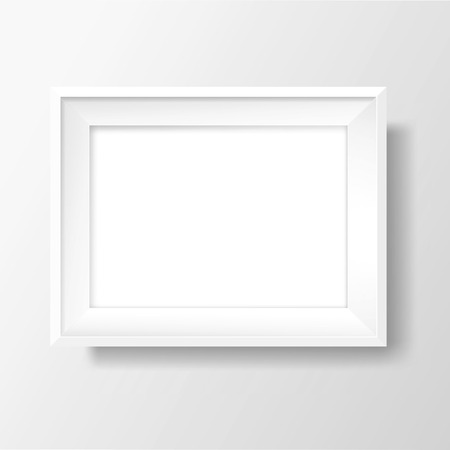 Blank picture frame template. Realistic white frame with shadow on white wall for photo or poster. Horizontal orientation A4 Illustration
