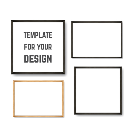 Set of Realistic Light and Dark Wooden Picture Frames on a White Wall, isolated on white. Design Template for Mock Up. Square and rectangle A4 shapes. Vector 矢量图像