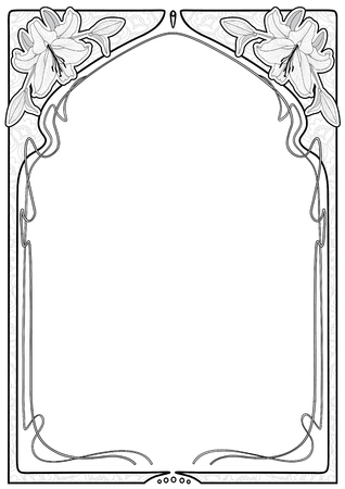 Art nouveau floral frame with lilies and space for text. Graphic style black and white color.