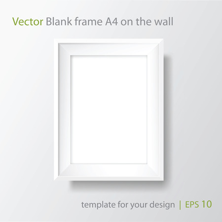 Blank picture frame template. Realistic white frame with shadow on white wall for photo or poster. Vertical orientation A4