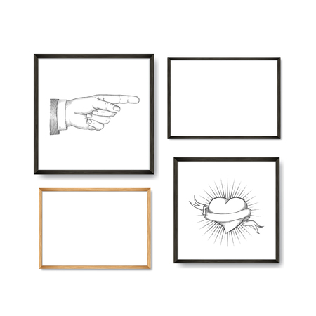 Set of Realistic Light and Dark Wooden Picture Frames on a White Wall, isolated on white. Design Template for Mock Up. Square and rectangle A4 shapes. Vector Illustration