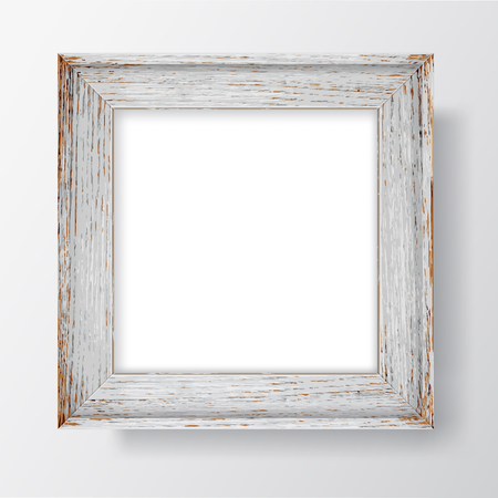 Square Blank picture frame template. Realistic wooden frame with shadows on white wall for photo or poster. Vector