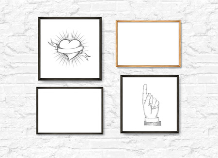 Set of Realistic Light and Dark Wooden Picture Frames on a White brick Wall. Loft interior. Design Template for Mock Up. Square and rectangle A4 shapes. Vector