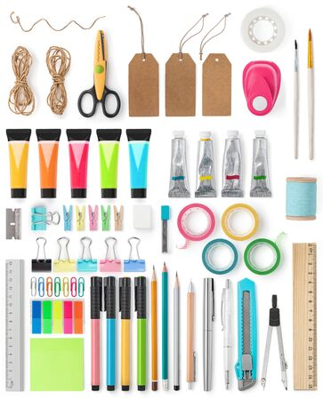 Big colorful set of stationery on a white background for scrapbooking. Back to school. Office tools. Flat lay, top view