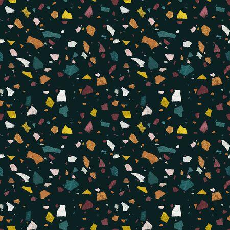 Dark terrazzo realistic texture. Vector seamless pattern of mosaic floor.