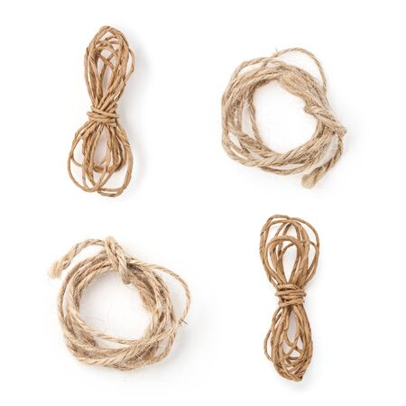 Set of isolated natural coils of rope on white background. Excellent for your mock up or any design 免版税图像