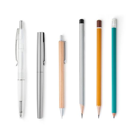 Different pens and pensils mockup isolated on a white background, restrained shades. Drawing and writing. With shadows, easy to use for your design, mock up. Banque d'images