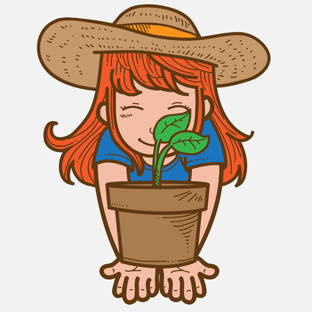 plant pot: Girl with plant on pot